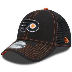 f8105f9143c54 Men s Philadelphia Flyers New Era Black NHL Crux Line Neo 39THIRTY Flex Hat