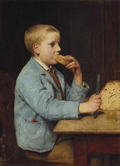 """""""Boy with Mid-Morning Snack"""" (also known as """"Knabe beim Znueni"""") circa 1897, by Swiss artist - Albert Anker (1831-1910), Oil on canvas, 45 x 33 cm. (17.72 x 12.99 in.), Private collection."""