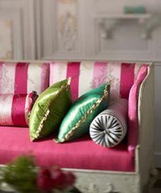 pink satin sofa