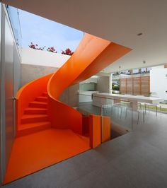 Bright #Orange Staircase sets the tone for a #dynamic ambiance. http://snip.ly/Ytvu  #home #realestate #homeidea #securingsmiles