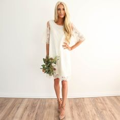 Color: Ivory White This dress would be so pretty for a dance or bridesmaid dress! This dress is lined I'm 5'3 wearing size small Does come in XL! 100% Polyester machine wash cold / hang dry