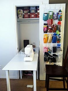 Craft room in a closet (via Red Fly Creations)
