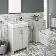 SHOP the Chatsworth Traditional White Sink Vanity Unit + Toilet Package at Victorian Plumbing UK Grey Vanity Unit, Sink Vanity Unit, Bathroom Vanity Units, Bathroom Furniture, Small Bathroom Vanities, Bathroom Taps, Gold Bathroom, Vanity Cabinet, Bathroom Ideas