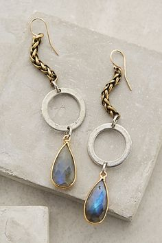LOVE these earrings, live, gold and labrodorite -  my favs!! Lunar Halo Drops #anthropologie.com