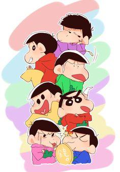 Crayon Shin Chan - Osomatsu, Karamatsu, Choromatsu, Ichimatsu, Jyushimatsu & Todomatsu