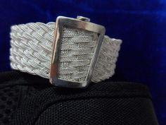 HÇ 1000 ayar gümüş burgu telle yapılmışsepet örgü bilezik