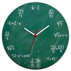 Blackboard Wall Clock for you who likes math and wants a new . Blackboard Wall Clock for those who like math and want a geeky clock to decorate their geek environment. Diy Clock, Clock Decor, Diy Wall Decor, Clock Ideas, Cool Clocks, Unique Wall Clocks, Mur Diy, Blackboard Wall, Chalkboard Paint