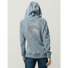 1e1564c5218 Rip Curl Shady Palms Hoodie ($40) ❤ liked on Polyvore featuring tops,  hoodies, blue hooded sweatshirt, fleece lined hooded sweatshirt, hooded  pullover, ...