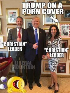 "Politics Trump with ""Christian"" leaders with Trump on a porn cover in background Funny, Hilarious, Caricatures, Religion, Republican Party, Republican Jesus, Atheist, Memes, Christianity"