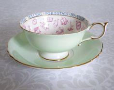 Paragon China Teacup and Saucer - Green Paragon Tea Cup - Art Deco Fortune Teller Teacup Mint Green