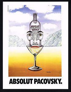 1991 Absolut Vodka John Pacovsky Bottle Glass ART Magazine Print ...