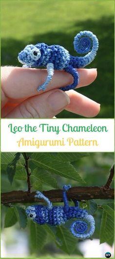 Amigurumi Crochet Leo the Tiny Chameleon Paid Pattern - Crochet Chameleon Amigurumi Softies Toy Patterns
