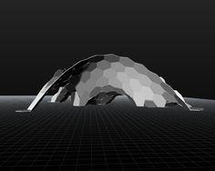 Hexagon Grid - bending force simulation for architectural design ( algorithm in Kangaroo, Grasshopper ), Andrzej Bratkowski
