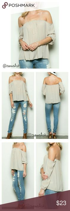 🆕  Taupe Off Shoulder Loose Fit Blouse Lightweight loose fit taupe chiffon top, off shoulder, long sleeve, elastic neckline and wrist, cute & trendy look with shorts or jeans.  Soft & lightweight chiffon. Boutique  Tops Blouses