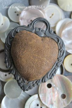 Victorian heart pinkeep  use very large charms from jewelry/bead section of craft store
