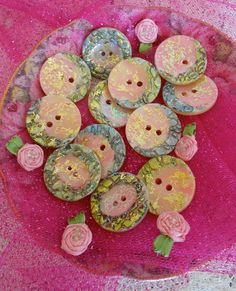 Pink and Green Hand Painted Buttons