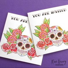 Sugar Skulls Wedding Invitations from Rae Henry Designs. Shop Now