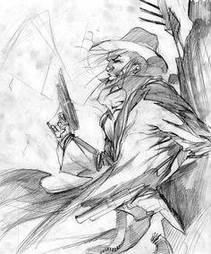 Sketch Update.. 1-22-07 Pencil! Girl! Western! Guns!
