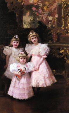 Joaquin Sorolla y Bastida (1863 – 1923, Spanish)  The Three Errazuriz Sisters