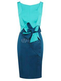 Vestidos cruzados de acetato azul con escote de estilo marinero y lazo - Milanoo.com