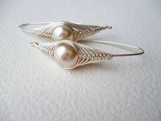 Silver Earrings Wire Wrapped Beige Pearl Dangle - Herringbone Technique,Handmade