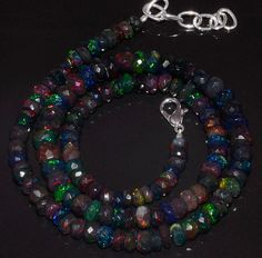 """80CRTS 5to7MM 18"""" BLACK ETHIOPIAN OPAL RONDELLE FACETED BEADS NECKLACE OBI3187 #OPALBEADSINDIA"""