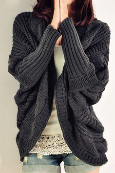 modèle tricot gilet manche chauve-souris                                                                                                                                                      Plus