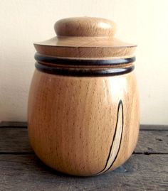 Turned Wood Box Lidded in Spalted Beech. Wood Pot by FluffyFenris, £15.00
