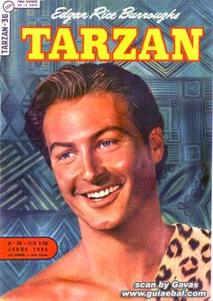 """Hal Foster was the first artist to draw the hero in adventure strips: the debut was in November 1928 for the English magazine """"Tarzan"""" Book Cover Art, Comic Book Covers, Comic Books, Tarzan Movie, English Magazine, Tarzan And Jane, Real Movies, Colt 45, Old Comics"""