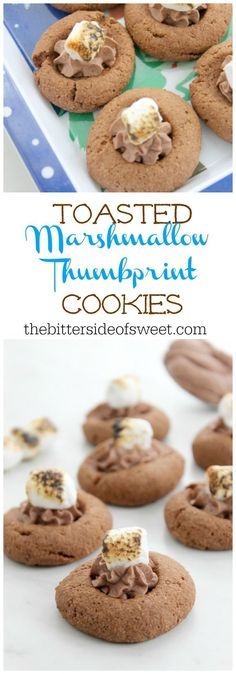 Toasted Marshmallow Thumbprint Cookies are a delicious chocolatey cookie topped with whipped cream and toasted marshmallows! Cookie Recipes From Scratch, Healthy Cookie Recipes, Cookie Desserts, Sweets Recipes, Easy Desserts, Delicious Desserts, Toasted Marshmallow, Marshmallow Recipes, Thumbprint Cookies
