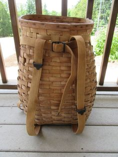 Large vintage woven ash Adirondack pack basket with carrying straps- some wear, beautiful, great home decor by HeathersCollectibles on Etsy Red Basket, All Craft, Wicker, Baskets, Fishing, Neutral, Weaving, Packing, How To Wear