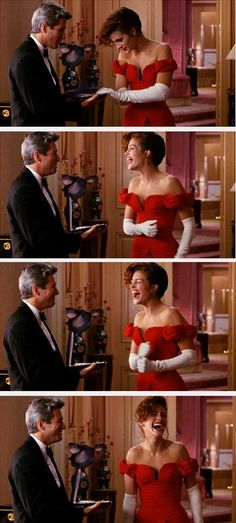 Pretty Woman ~ Julia Roberts, Richard Gere *Not try to be materialistic, but the scene is awesome ❤ Pretty Woman Movie, Love Movie, I Movie, Movie Stars, Pretty Woman Quotes, Iconic Movies, Old Movies, Great Movies, 1990 Movies
