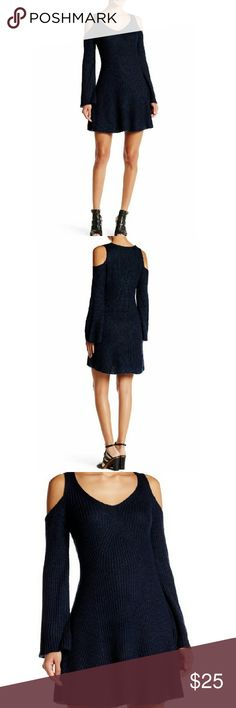"""Winter ready! Long Sleeve Knit Dress with Cutouts This beautiful navy knit dress features long sleeves with shoulder cutouts and v-neck. Adorable with tights and ankle boots or alone with wrap heels. Approx 36"""" long. 80% acrylic, 15% Polyester, 5% Nylon.   Brand new in original packaging. Very J Dresses Long Sleeve"""
