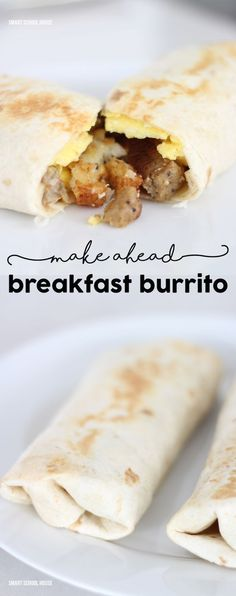 Make Ahead Sausage Hash Brown Breakfast Burrito - this recipe is a family favorite! Make this meal at dinner time, like a casserole, and it's a super easy breakfast the next day. This recipe includes eggs, and a sauce made with soup!