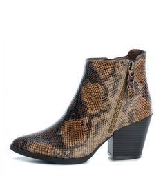With a snakeskin effect faux leather upper in warm shades of brown of beige, these new Refresh ankle boots are perfectly on trend. The sleek pointed toe is teamed with a stacked block high heel and a textured rubber sole for stability. Refresh 69185 Women's fashion boots feature a stylish double diagonal zip design, one on the outer side of the boot for decoration with a matching snakeskin effect fabric zip pull and a functioning zip on the inner side of the boot with a branded 'R' metal zip… Best Ankle Boots, Block Heel Ankle Boots, Block Heels, Fashion Heels, Fashion Boots, Women's Fashion, High Heels, Shoes Heels, Snake Skin