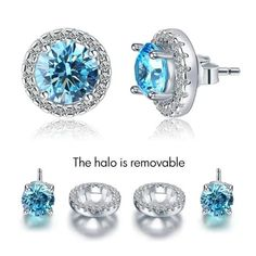 Bring some halo to your next look with our stunning 925 Silver Earrings or send this as a surprising stunning gift. Sterling Silver Earrings Studs, Blue Earrings, Silver Bracelets, Silver Jewelry, Silver Ring, Diamond Earrings, Diamond Studs, Jewelry Sets, Jewelry Design