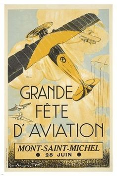 GRAND PARTY AVIATION mont saint-michel VINTAGE AD POSTER classy sporty 24X36