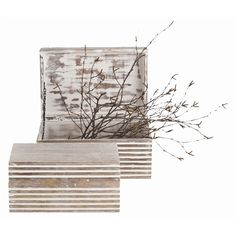 Trinity Small Boxes by Arteriors #whitewash