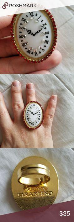 Tarina Tarantino Alice in Wonderland clock ring Tarina Tarantino Alice in Wonderland series ring. Adjustable and perfect condition. Tarina Tarantino Jewelry Rings