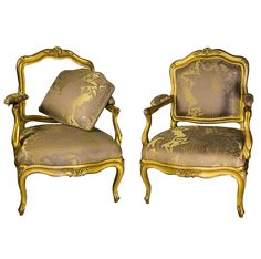 Pair of Armchairs à Châssis Louis XV Period | From a unique collection of antique and modern armchairs at https://www.1stdibs.com/furniture/seating/armchairs/