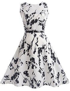 21KIDS Girls Summer Sleeveless Vintage Floral Party Dresses