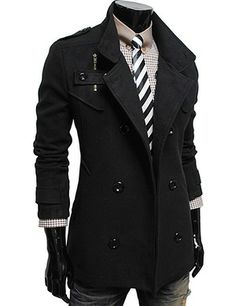 Double Breasted High Neck Wool Coat BLACK