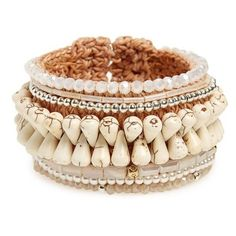 Women's Panacea Beaded Rope Cuff Bracelet ($28) ❤ liked on Polyvore featuring jewelry, bracelets, white, bohemian jewelry, beaded bangles, cuff bangle, boho bangles and beading jewelry #beadedjewelry