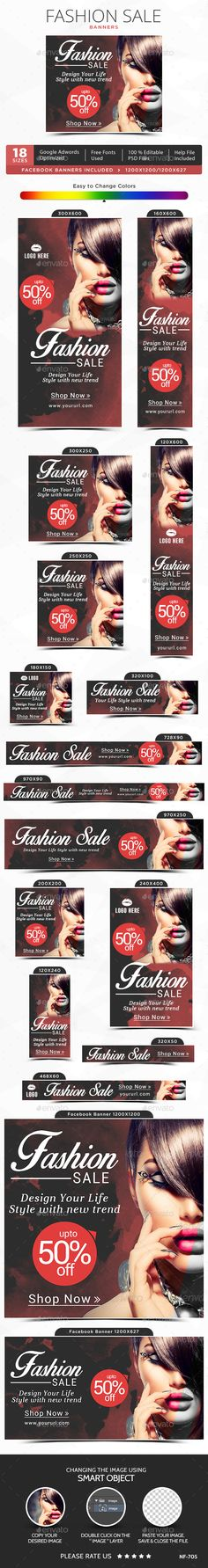 Fashion Sale web Banners Template PSD #design #ads Download: http://graphicriver.net/item/fashion-sale-banners/13185632?ref=ksioks