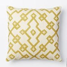 Crewel Lattice Pillow Cover - Horseradish