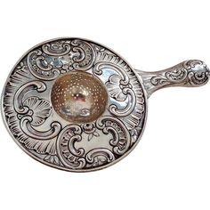 800 Continental Silver Ornately Decorated Teastrainer Tea Strainer Tea Strainer, Tea Infuser, Vintage Silver, Antique Silver, Hildesheimer Rose, Tea Riffic, Vintage Vanity, Vanity Set, Metal Working