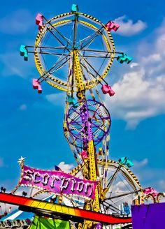 Carnival Sky Wheel Scorpion Ride Fine Art Print or Canvas Wrap  $110.00-11 X 14