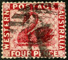 Western Australia  1872 Scott 38 4p carmine Wmk 1, Perf 14