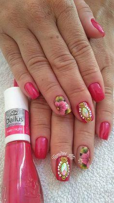 Spring Nails, Nail Art Designs, Beauty, Easy Nails, Nail Jewels, Fall Nail Colors, Nails At Home, Nail Art Flowers, Nail Colors
