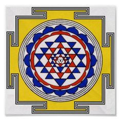 Shop Sri Yantra Poster created by Spirit_Wind. Sri Yantra, Sacred Symbols, Vedic Astrology, Zodiac Constellations, Poster Prints, Art Prints, Spiritual Practices, Indian Gods, Indian Paintings